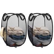 Mesh Laundry Basket Collapsible, 2pcs Pop Up Mesh Hamper With Side Pocket And Reinforced Handles, Solid Bottom And Sturdy, To Storage And Easy To Open, Great Hamper For Dorm, Bedroom Or Travel