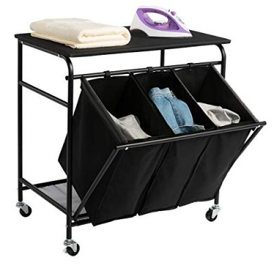 HollyHOME Laundry Sorter Cart with Unopenable Ironing Board