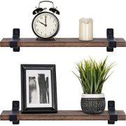 Mkono Rustic Wood Floating Shelves Industrial Wall Mounted Shelving 2 Set