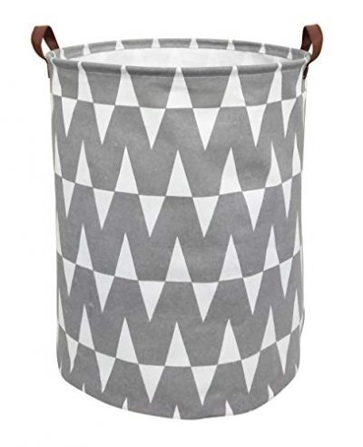 CLOCOR Collapsible Round Storage Bin/Large Storage Basket/Clothes Laundry Hamper/Toy Books Holder (Grey W)