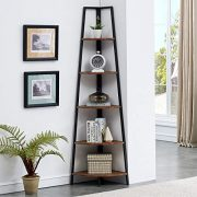 O&K FURNITURE Industrial Tall Corner Bookshelf, 5 Tier Corner Display Unit Shelves