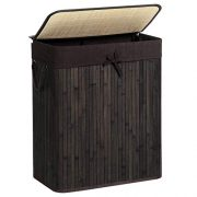 SONGMICS Bamboo Laundry Hamper with Lid, Two-Section Laundry Basket Sorter