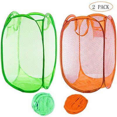 Qtopun Mesh Popup Laundry Hamper, Foldable 2 Pack