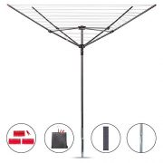 STORAGE MANIAC Rotary Outdoor Umbrella Drying Rack | Collapsible 4-arm | 12-Lines with 164ft Clothesline