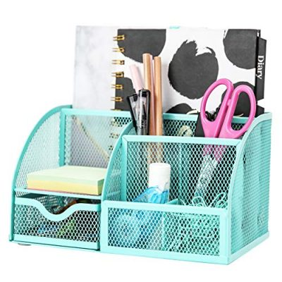 Exerz Mesh Desk Organizer Office with 6 Compartments + Drawer/Desk Tidy