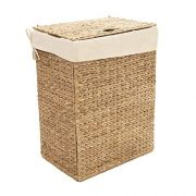 Seville Classics Lidded Foldable Water Hyacinth Portable Rectangular Laundry