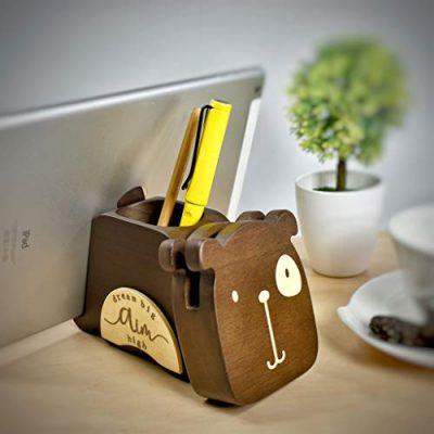 I'm Wooden Multi-Functional Stationery Supplies Organizer Desk Decoration