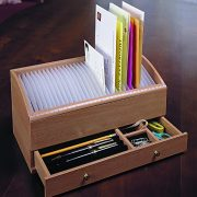 Natural Wood Space Saver Letter and Bill Organizer with Compartments Drawer