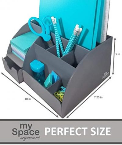 Acrylic Office Desk Organizer with Drawer, 9 Compartments, All in One Office