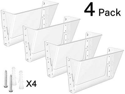 MaxGear Acrylic File Holder Wall Organizer 4 Pockets Hanging File Organizers