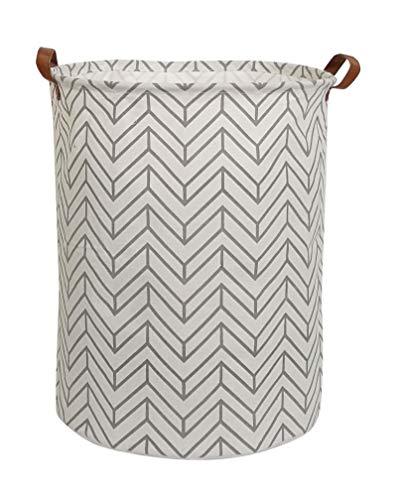 CLOCOR Collapsible Round Storage Bin/Large Storage Basket/Clothes Laundry Hamper/Toy Storage Bin (Grey Geometry)