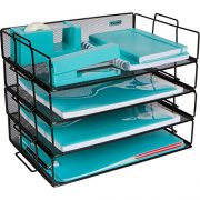 Stackable Paper Tray Desk Organizer - 4 Tier Metal Mesh Letter Organizers