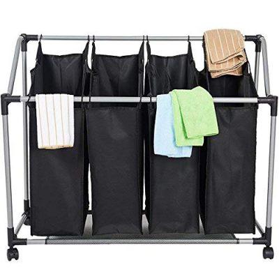 Livebest 4 Secations Bags Laundry Hamper Sorter Cart Metal Frame Waterproof Oxford Storage Basket for Apartment Dorm Bedroom Bathroom Black