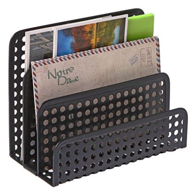 3 Slot Perforated Metal Mesh Mail Sorter Rack, Desktop Letter and Document