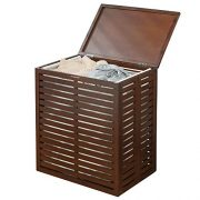 mDesign Bamboo Laundry Hamper Basket with Removable Fabric Liner and Decorative Wood Slats - Portable and Foldable for Compact Storage - Single Hamper Design - Espresso Bamboo