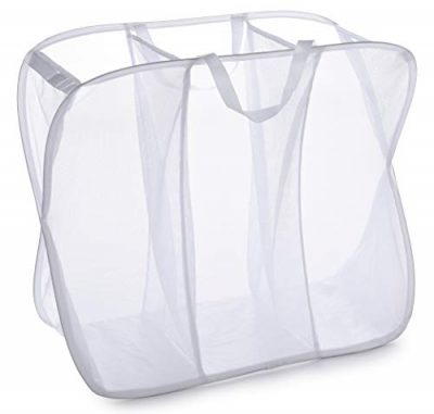 Three Compartment Popup Hamper - Durable Mesh Material, Folds for Storage