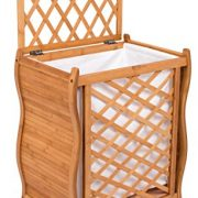 BIRDROCK HOME Wave Bamboo Laundry Hamper with Lid and Cloth Liner - Easily Transport Laundry Basket - Trellis Bamboo Laundry Basket - Spa Natural Hamper