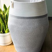 "Goodpick Laundry Hamper | Dirty Clothes Hamper | Wicker Cotton Rope Tall Laundry Basket, Modern Curver Bucket Bedroom Decort 25.6"" Height"