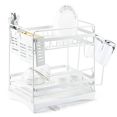 Glotoch StainlessSteelDishDryingRack-2 Tier Dish Rack with Utensil Holder,knife holder,Cup Holder&Cutting Board Holder and Drainboard set for Kitchen Counter,Dish Drainer Rack 14 x 9.5 x 14.5White