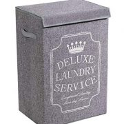 YOUDENOVA Grey Laundry Hamper with Lid, XL High Capacity Laundry Basket