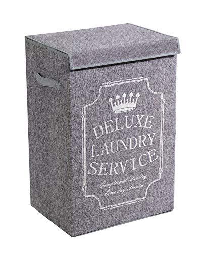 YOUDENOVA Grey Laundry Hamper with Lid, XL High Capacity Laundry Basket