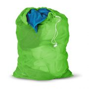 Honey-Can-Do Mesh Laundry Bag with Drawstring, Green