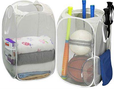 2 Pack - SimpleHouseware Mesh Pop-Up Laundry Hamper Basket