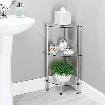 mDesign Bathroom Floor Storage Corner Tower, 3 Tier Open Glass Shelves