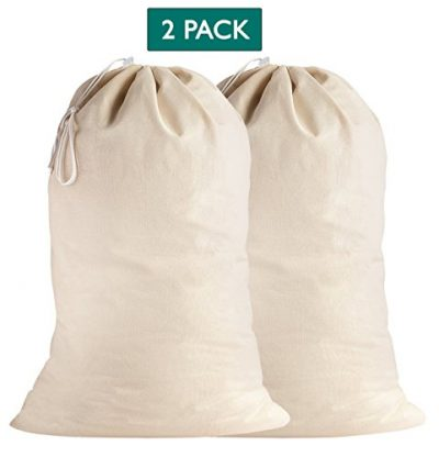 Lino Mantra 2 Pack, Laundry Bags in Natural Color, 28 INCH X 36 INCH,100% Cotton Extra-Large Heavy Duty Laundry Bags Highly Durable, Drawstring with Cord-Lock, Machine Washable and Reusable