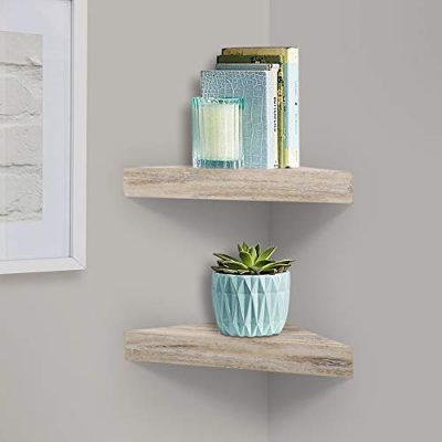 AHDECOR Rustic Wood Corner Wall Shelves, Wall Mounted Floating Corner
