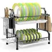 Dish Drying Rack, iSPECLE 304 Stainless Steel 2-Tier Dish Rack