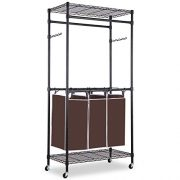 alvorog Garment Rack Rolling Laundry Sorter Cart Heavy-Duty Sorting Hamper Commercial Grade Clothes Rack with Top and Bottom Shelves and Removable Bags for Laundry Room, Black