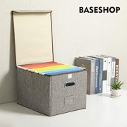 Collapsible File Box with Lid [2-Pack] Decorative Documents Storage Organizer
