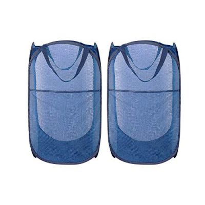 HOMEIDEAS Pack of 2 Pop Up Mesh Laundry Hamper Portable & Collapsible Popup