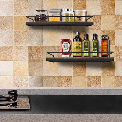 Minggoo Floating Shelves Wall Mounted Set of 2, Rustic Wood Wall Storage Shelves for Bedroom,Living Room,Bathroom, Kitchen