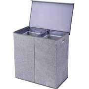 YESY Double Laundry Hamper/Sorter Removable Liners Magnetic Lid, Collapsible Clothes Basket Built-in Handles Easy Carrying, 2 Dividers, Linen Gray