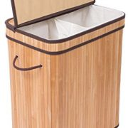 BIRDROCK HOME Double Laundry Hamper with Lid and Cloth Liner - Bamboo - Natural - Easily Transport Laundry Basket - 2 Section Collapsible Hamper - String Handles