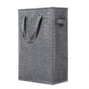 WOWLIVE 45L Slim Thin Laundry Hamper Small Laundry Basket with Handles Foldable Skinny Hamper for Laundry Durable Collapsible Dirty Clothes Hamper (Grey2)