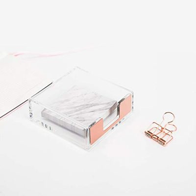 Clear Acrylic Rose Gold Self Stick Memo Pad Holder 5mm Super Thick Notes Cards