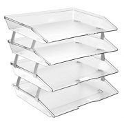 Acrimet Facility 4 Tier Letter Tray Side Load Plastic Desktop File Organizer