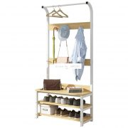 Simple Multi-Hook Clothing and Shoes Stand Rack Wood