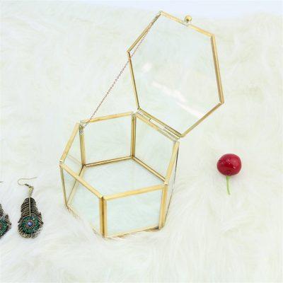Geometrical Glass Jewelry Box Retro Vintage