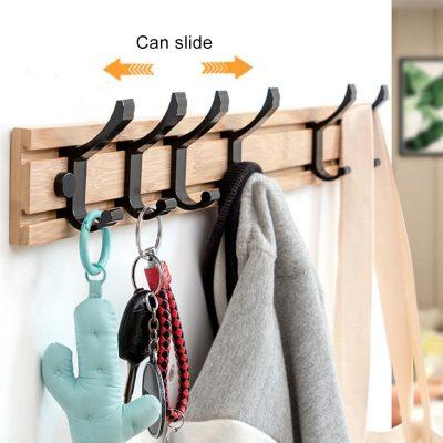 Wooden Hooks Clothes Coat Hanger Stand Storage Slide