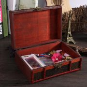 Vintage Metal Lock Boxes Desktop Storage Jewelry Box