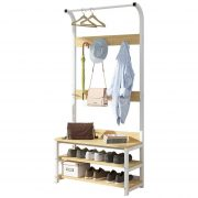 170cm Simple Multi-Hook Clothing and Shoes Stand Rack Wood