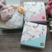Pink Blue Gold Marble Design Paper Box Gift