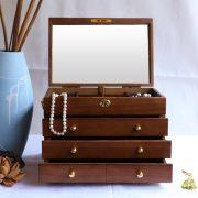 Solid wood jewelry box with lock vintage flannelette