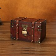 Retro Treasure Chest with Lock Vintage Wooden Storage Box