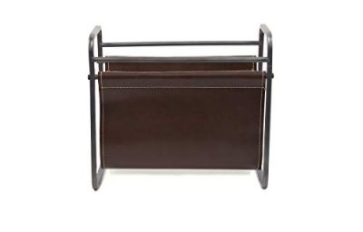 Desktop Leather Magazine Holder Top Storage and Display Stand