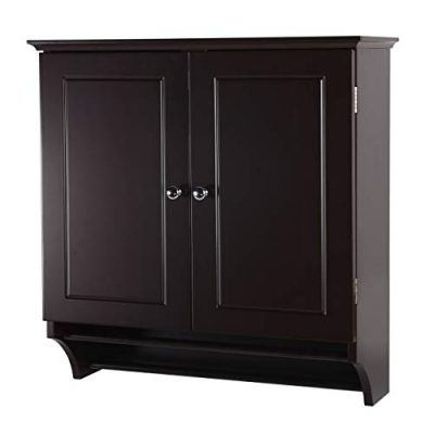 Coffee Brown Wall Mounted Medicine Cabine with Two Doors and Shelves